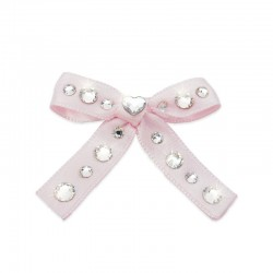 CRYSTAL BABY PINK SATIN BOW...