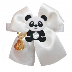 PANDA ON BOW COLLAR WHITE...